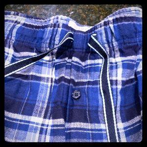 NWOT men's XXL fleece plaid blue lunge pants open